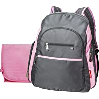 Fisher-Price Ripstop Backpack Diaper Bag (Grey/Pink)
