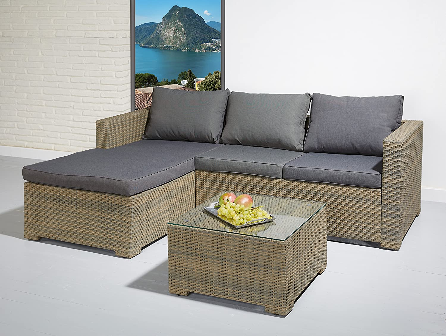 poly rattan essgruppe sitzgruppe braun grau lounge set. Black Bedroom Furniture Sets. Home Design Ideas