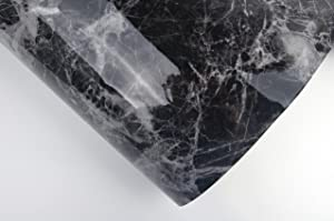 Black Grey Granite Look Marble Effect Interior Film Vinyl Self Adhesive Peel-Stick Counter Top (2' X 9.84 ft) (Color: Black, Tamaño: 2' X 9.84 ft)