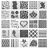 SOTOGO 25 Pcs Mix Pattern Square Shape Journal Stencil Plastic Planner Stencils Journal/Notebook/Diary/Scrapbook DIY Drawing Template Stencil (Color: SET A)