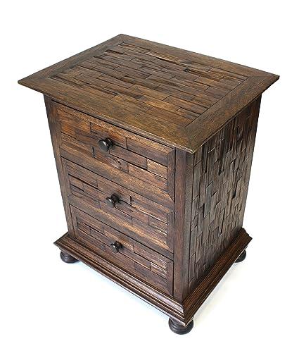 Farang teca pecho de 3 cajones, muebles de madera de teca tailandesa recuperada