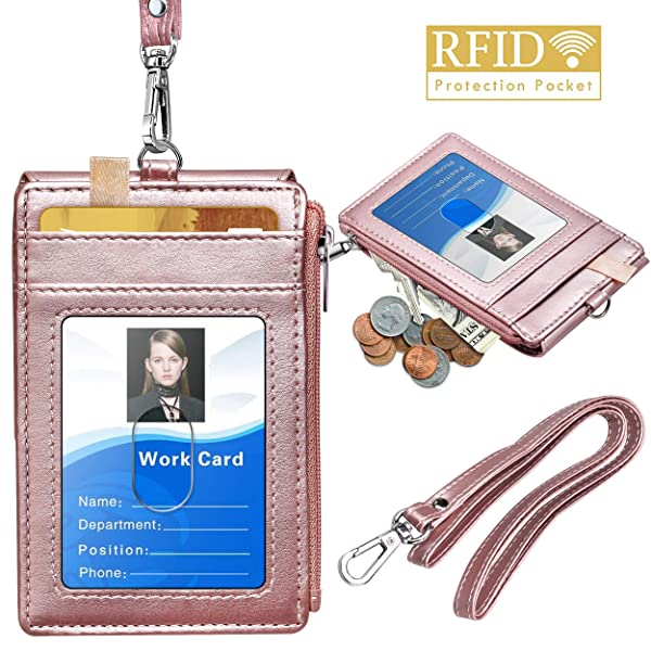 ELV PU Leather ID Badge Card Holder Wallet with 5 Card Badge Holder with Zipper