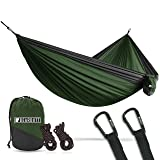 Bear Butt Lightweight Double Camping Parachute Hammock-Large, Portable Two-Person Hammock for Hiking & Backpacking - 16 Colors Available (Green/Charcoal)