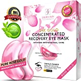 Eye Pads 24k Rose Gold Eye Mask Anti-Aging Hyaluronic Acid Eye Patches Pink Under Eye Mask for Moisturizing & Reducing Dark Circles Puffiness Wrinkles (Color: Rose)