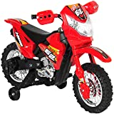 Best Choice Products 6V Electric Kids Ride On Motorcycle Dirt Bike W/ Training Wheels- Red (Color: Red)