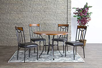 Baxton Studio Lancaster Wood and Metal 5-Piece Contemporary Dining Set
