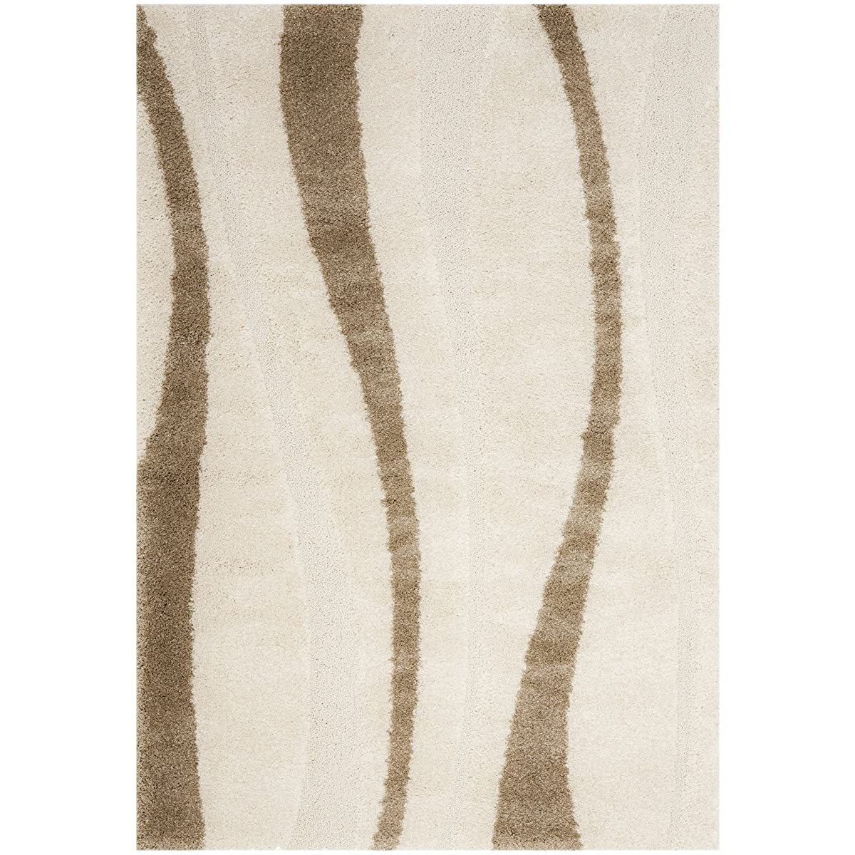 Safavieh Willow Shag Collection SG451-1128 Cream and Dark Brown Area Rug (8' x 10')