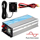 GIANDEL Pure Sine Wave Power Inverter 1000W DC 24V to AC 110V 120V with Remote Control with Dual AC Outlets &1A USB Port for RV Truck Car Solar System and Emergency (Tamaño: 1000W/24V)
