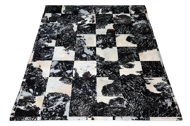 SIT-Möbel 1027-21 Teppich This und That, 200 x 300 cm, gefärbtes Kuhfell, dessin silber auf schwarz / weiß