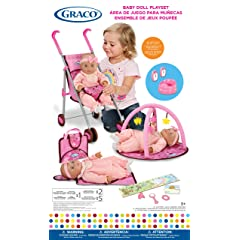 Graco Baby Doll Playset with Stroller Playgym Travel Bag Potty Baby Monitors and Accessories