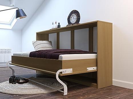 Armario cama 90cm Horizontal haya Smart cama Smart punto Colchón de espuma fría 90x 200cm