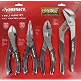 Husky 861461 4 Piece High Leverage Multi-Use Pliers Set with Diagonal, Long Nose, Slip Joint, and Groove Joint Pliers (Color: Black)