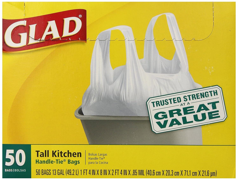 Glad Tall Kitchen Handle-Tie Trash Bags, White, 13 Gallon