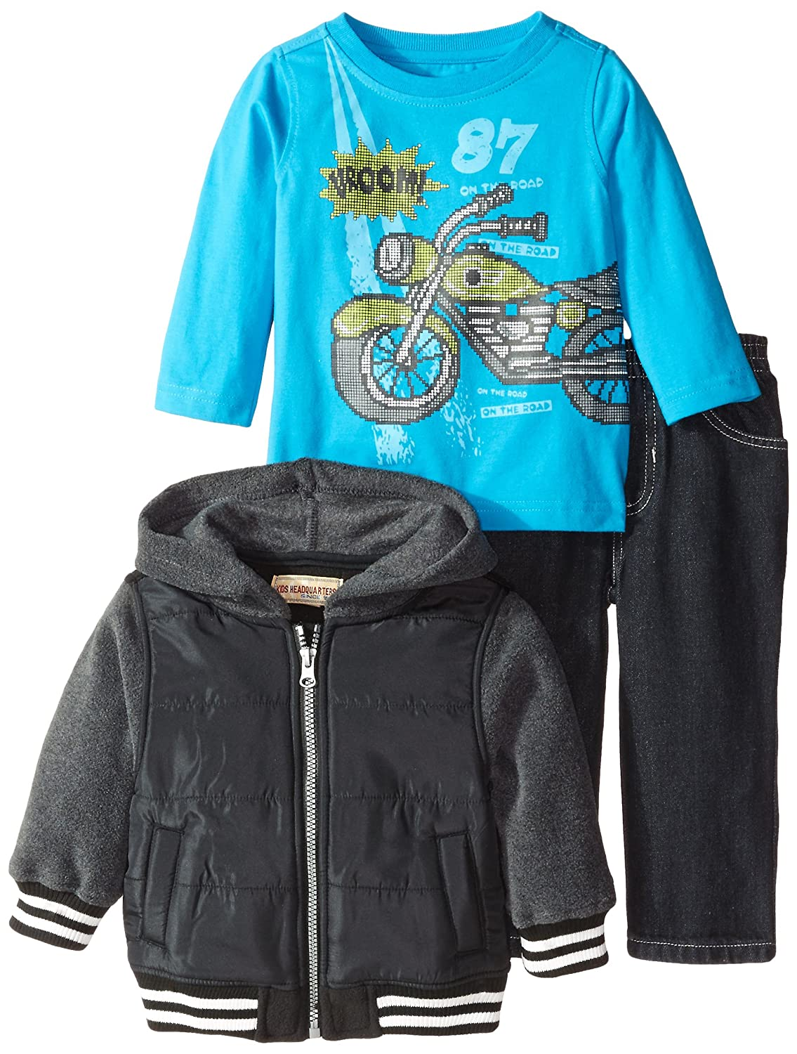 Kids Headquarters Baby Boys' Black Gray Fleece Jacket with Tee and Jeans