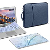 GMYLE 3 in 1 Bundle Blue Marble Stone Soft-Touch Matte Hard Case for Macbook Air 13 inch (A1369/A1466) Navy Blue Water Repellent Laptop Sleeve with Handle and with Serenity Blue Silicon Keyboard Cover (Color: Stone Pattern, Tamaño: Macbook Air 13 inch (Model:A1369/ A1466))