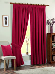 Dreams &'n&' Drapes Chenille Spot Single Pass Thermal Coated Curtains, 3 inch, 90 x 72 inch, Red       Customer reviews
