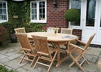 Ensemble salon de jardin 7 pièces - table ovale avec allonge ...