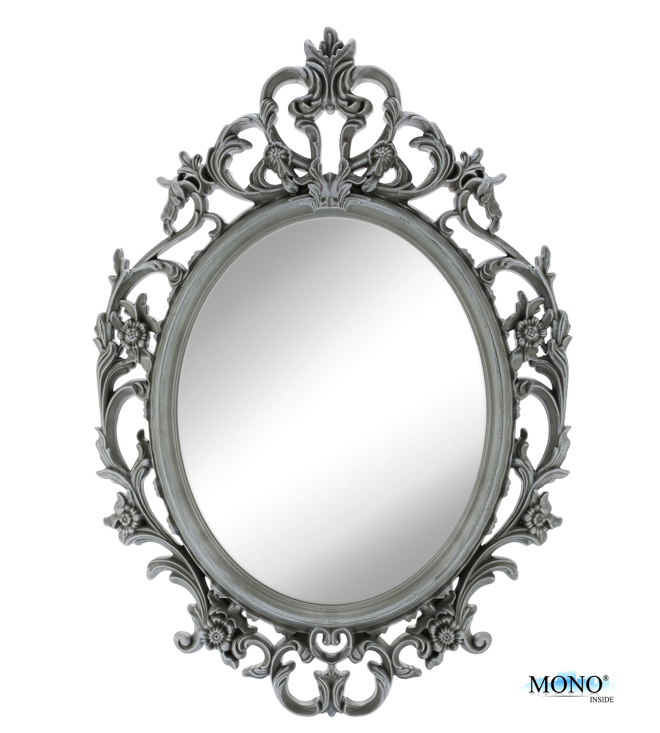Monoinside 15 framed oval wall mount mirror antique for Fancy oval mirror