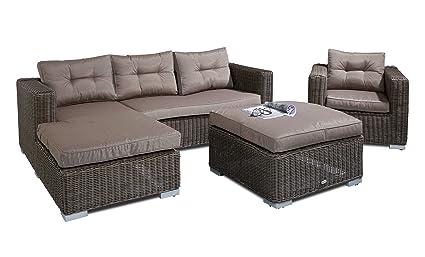 Alta calidad artlive 4piezas incluye cojín Luxus Jardín-Conjunto de muebles de jardín (estructura de aluminio, ratán Asiento Grupo Muebles Asiento Grupo Jardín Conjunto de asiento de sofá Lounge