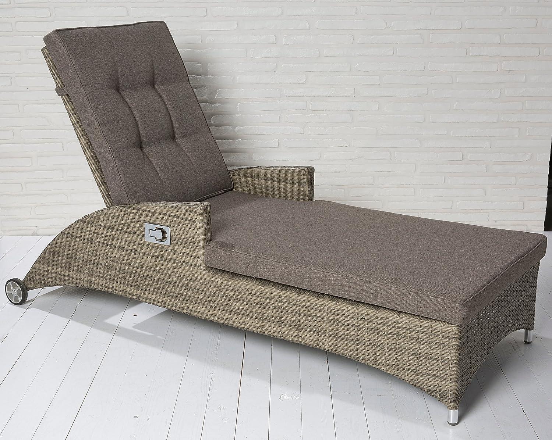 Luxus Polyrattan Gartenliege Rattan Terrassenliege Sonnenliege Gartenmöbel Loungemöbel Liege verstellbar online kaufen