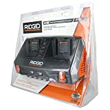 Ridgid AC840094 Gen5X Dual Port 18V Lithium Ion and NiCad Battery Charger with Pass-Through AC Ports and USB Charging (Batteries Not Included, Charger Only)