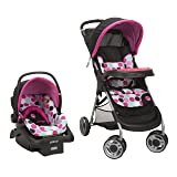 Disney Baby Minnie Mouse Lift & Stroll Plus Travel System with Light 'N Comfy Infant Car Seat, Minnie Dotty (Color: Black)