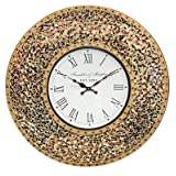 """DecorShore 23"""" Decorative Wall Clock, Silent Clock with Decorative Glass Mosaic, Oversized Wall Clock (Name) (Golden Sands - Gold, Citrine & Chocolate Opal Look) (Color: Golden Sands - Gold, Citrine & Chocolate Opal Look, Tamaño: 22.5 inches)"""