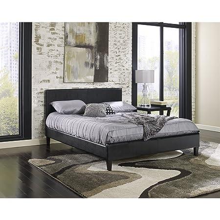 Platform Bed Leather Queen Upholstered Black Headboard Bedroom Modern Furniture