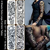 Kotbs 4 Sheets Large Waterproof Full Arm Tattoo Sticker Skull Rose Fake Tattoos Sleeve Temporary Tattoo Body Art for Men Women (Color: Set 2: Black Full Arm Tattoos (4 Sheets))