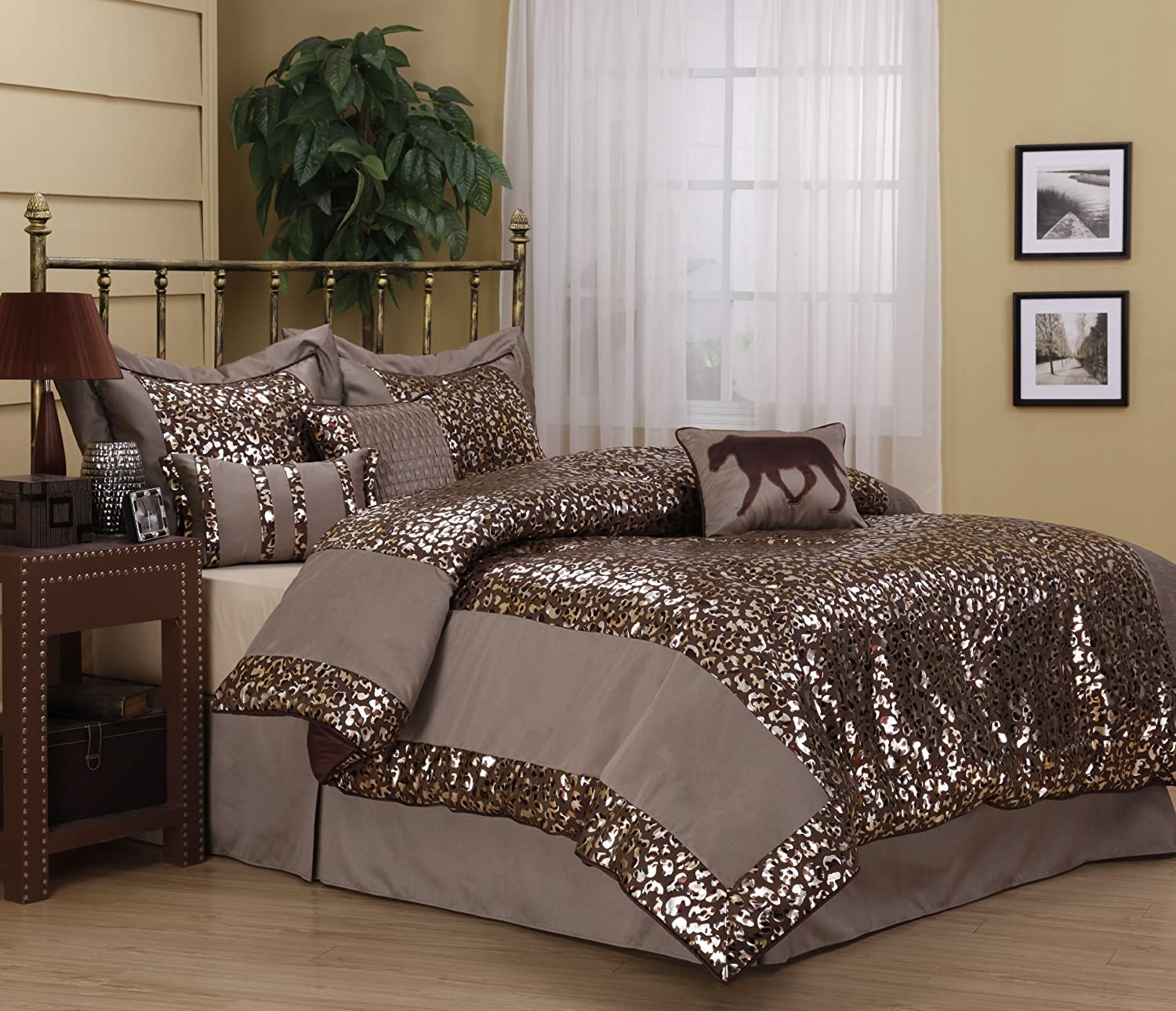 chelsie queen comforter set foil printed leopard bed gold brown