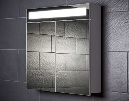 Galdem Even 70 Mirrored Bathroom Cabinet with 2 Doors/T5 Fluorescent Light/Soft Close Function/Plug Socket/Also Suitable for Hallways 70cm