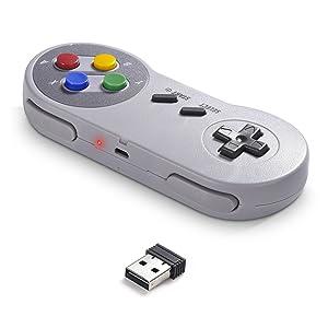 2 Pack 2.4 GHz Wireless USB Controller Compatible with Super Famicom Games, iNNEXT SNES Retro USB PC Super Classic Controller for Windows PC MAC Linux Genesis Raspberry Pi Retropie (Multicolored Keys) (Color: Wireless Multicolored Keys)