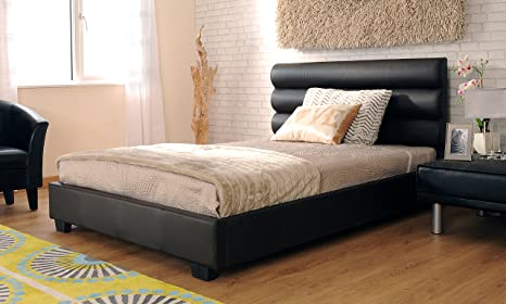 5ft Double Modern Designer Black Faux Leather Bed Frame with Stella Mattress