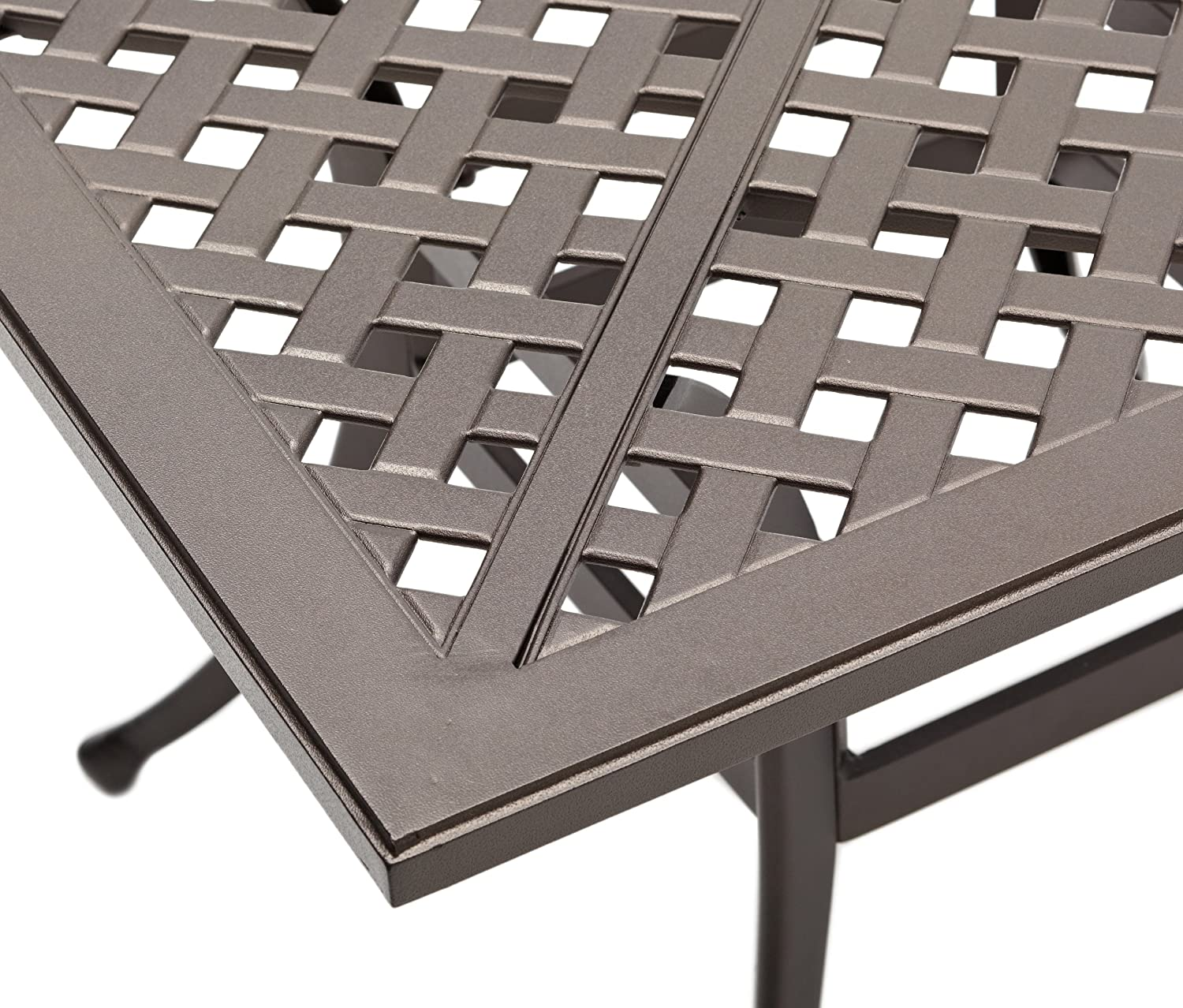 40in Cast Aluminum Dining Table Square Woven Coat Removable Umbrella ...