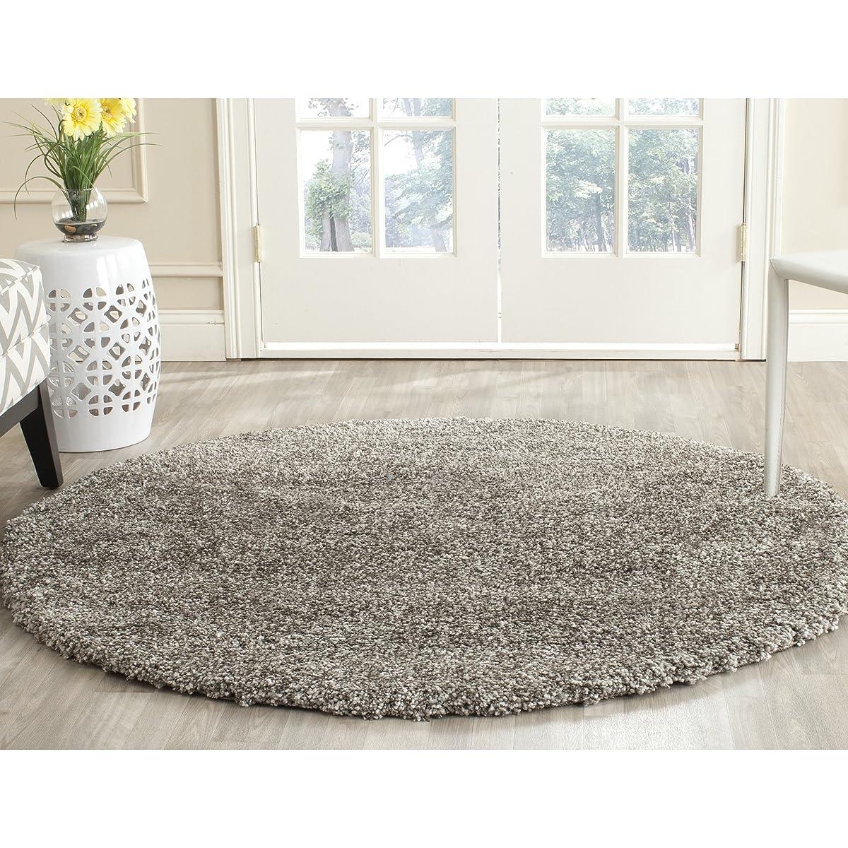Safavieh Milan Shag Collection SG180-8080 Grey Round Area Rug (3 Diameter)