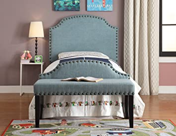 Furniture of America 2 Piece Heiden Modern Headboard with Bench Set, Twin, Light Blue