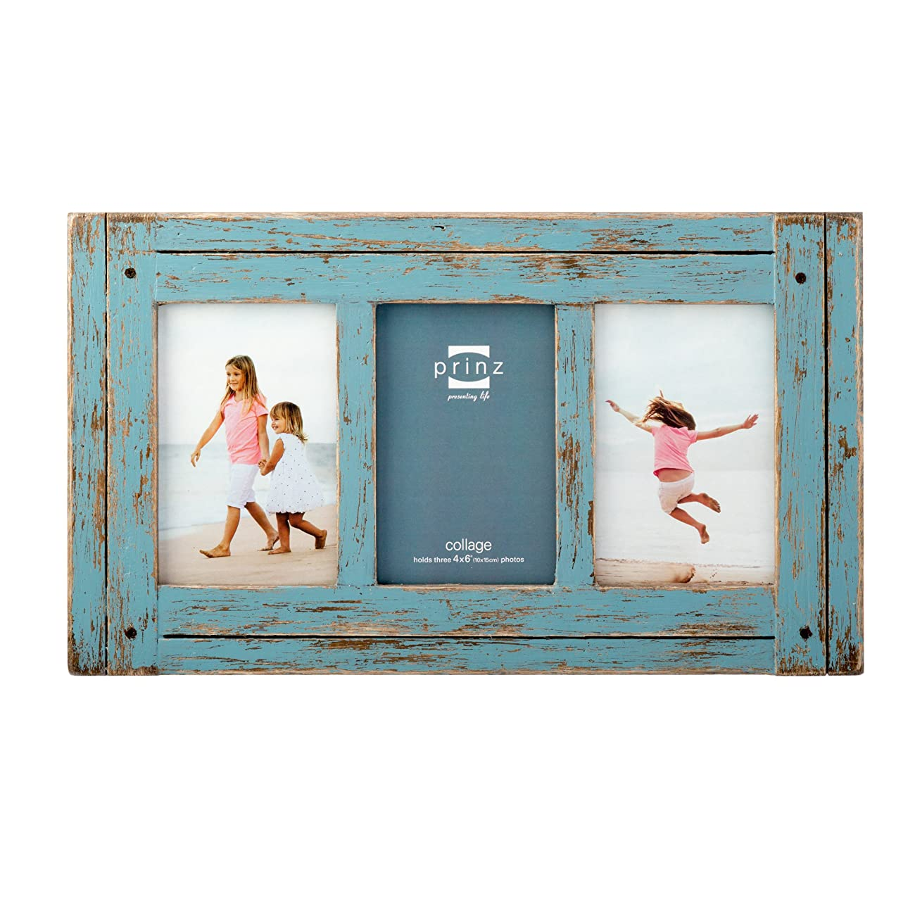 Prinz 3 Opening Homestead Antique Wood Collage Frame, 4 x 6