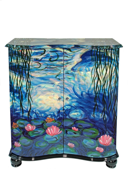 Casa Collection / Art for living by Jänig 11048 Exclusive Kommode, 2-türig mit 2 Einlegeböden, Griffe in Kristallglasoptik, Lack, Claude Monet, 119 x 92 x 40, Motiv Seerosen
