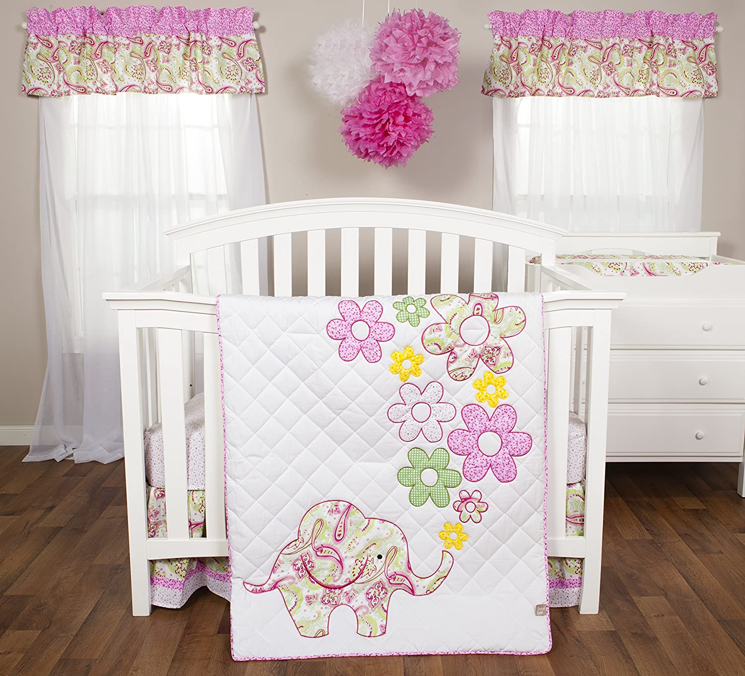 Trend Lab Elephant Flowers Baby Bedding