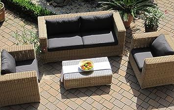 *S: Lounge Wohnlandschaft 1 Sofa 2 Sessel 1Tisch 1 Hocker Rattan Polyrattan Geflecht  Gartenmöbel Natur Beige Braun Provence. Monat Rabatt