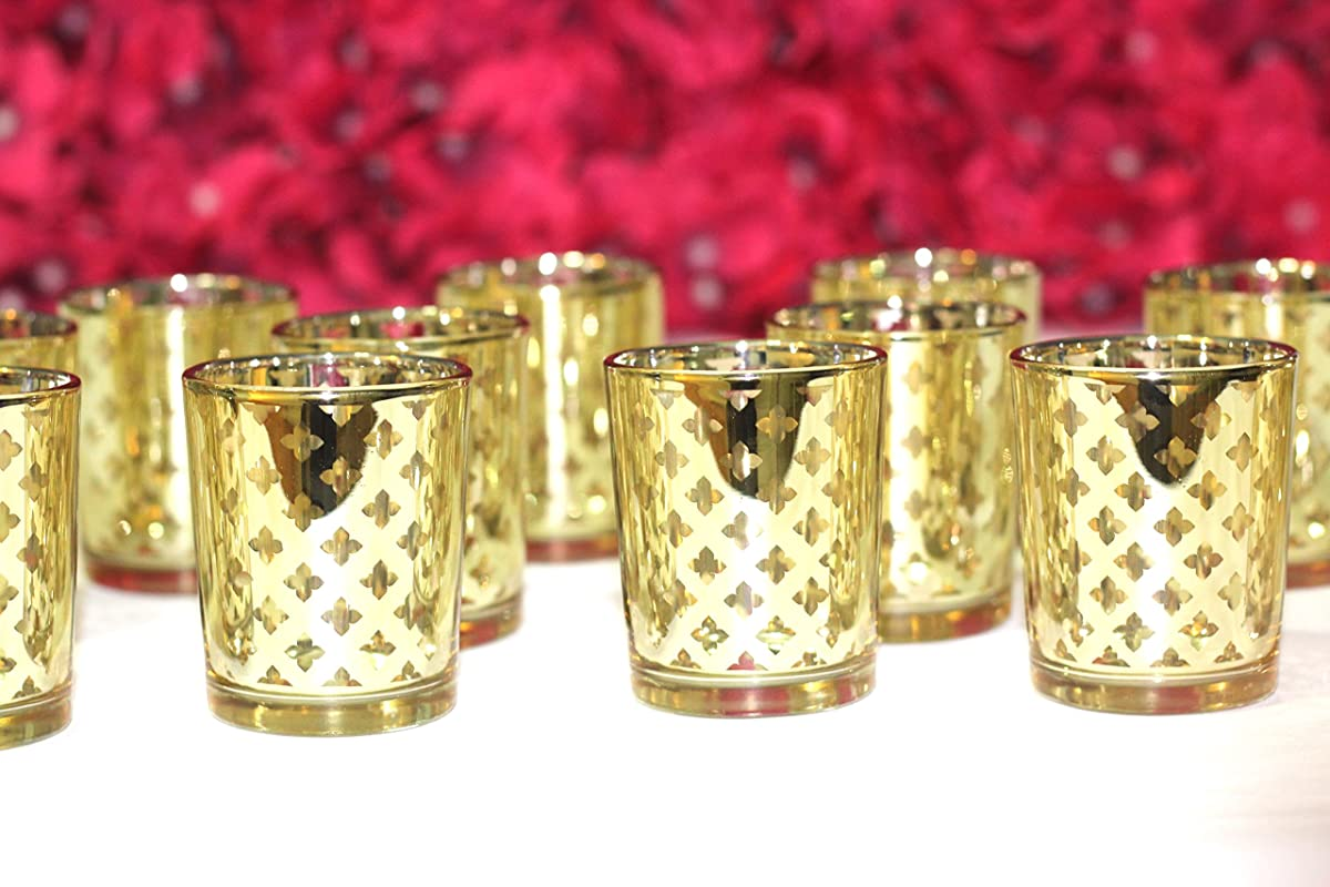 Mercury Votive Candle Holder. Set of 12 (Laser Cut Votive Candle Holder (Gold) Pack of 12.)