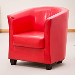 Brand New Red Bonded Leather Tub Chair / Armchair Seating       reviews and more news