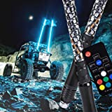 2pc 4ft Spiral LED Whip Lights w/Flag [21 Modes] [20 Colors] [Wireless Remote] [Weatherproof] Lighted Antenna Whips - Accessories for ATV Polaris RZR 4 Wheeler (Tamaño: 4ft - Pack of 2)