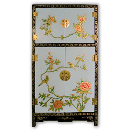 "TransSino Treasures 43"" Oriental Blue and Black Lacquer Side Cabinet with Hand Painting"