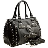 MG Collection HOWEA Trendy Black 3D Devil Skull Studded Doctor Style Handbag