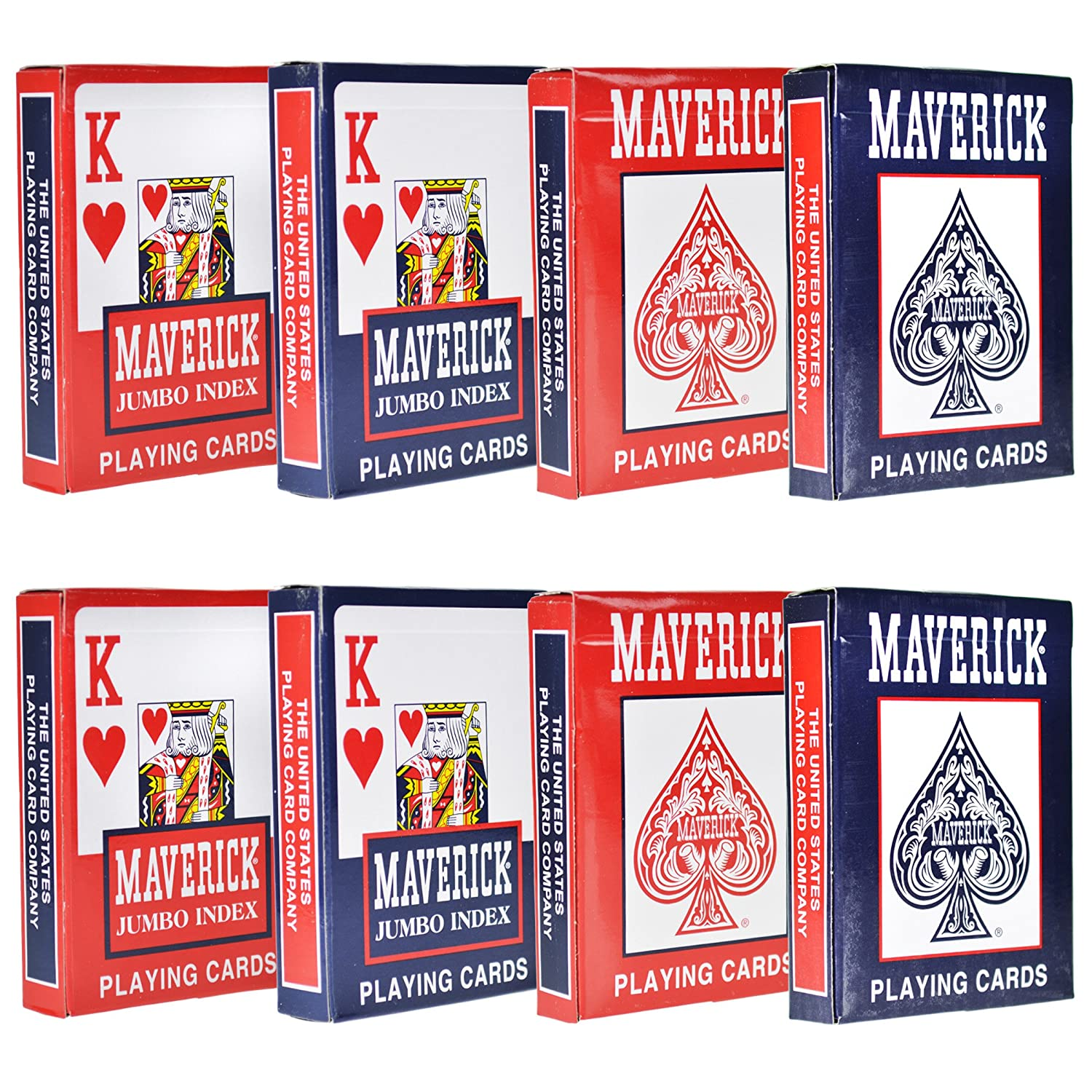 8 Decks of Playing Cards - (4 Standard Index / 4 Jumbo Index)