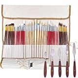 WA Portman Artist Paint Brush Set and Painting Knives for Acrylic Watercolor Gouache Oil Face Body Painting I 38 pc Assorted Synthetic Paint Brushes with 5 pc Palette Knife Set in Canvas Travel Case (Tamaño: 38 Brushes & 5 Pallet Knives)