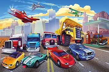 Fototapete Kinderzimmer Tapete Cars Planes   Autos Flugzeuge   Race  Rennautos   Jungenzimmer Dekoration Autos   Feuerwehr Bagger Kinder Motiv    GREAT ART ...