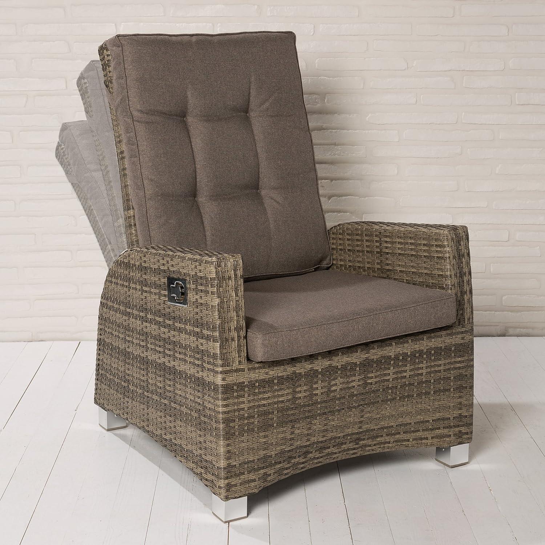 6 XL Luxus Rocking Chair Polyrattan Monte-Carlo Gartensessel braun Gartenstuhl online bestellen
