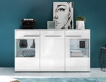 Sideboard / Kommode inkl. Glaskantenbeleuchtung mit 3 Turen und Schublade in Hochglanz Weiß 163x97x40cm / Trendtream Top Neues Modell!